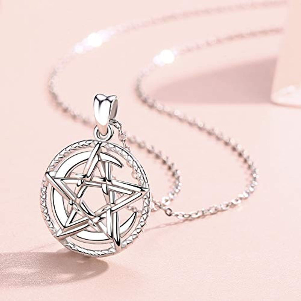 Silver Necklace for Women Girls, Moon and Star 925 Sterling Silver Pendant 18 Inches Chain for Wife Mum Grandma Girlfriend