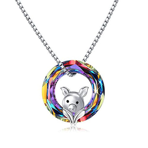 Silver Pig Crystal Pendant Necklace