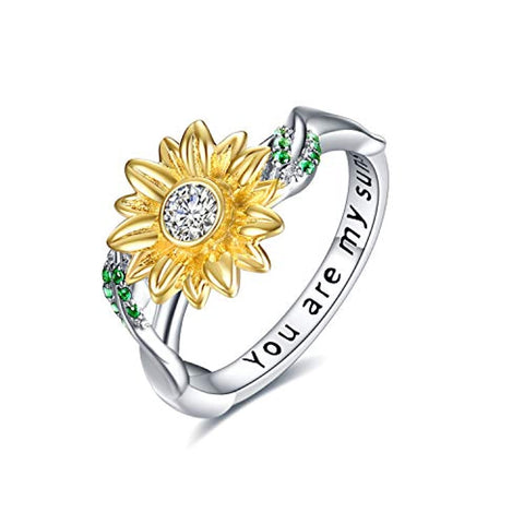 Silver Sunflower Cubic Zirconia Rings