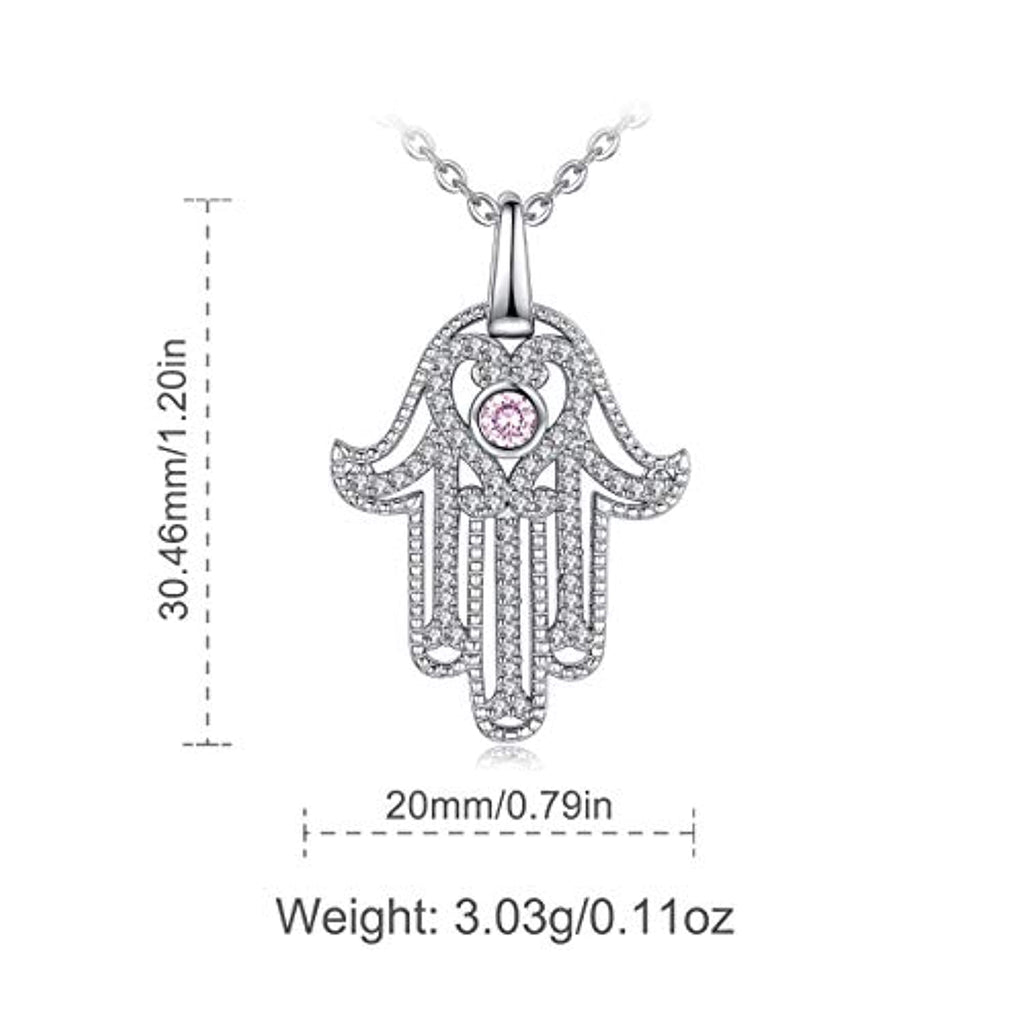Sterling Silver CZ Evil Eye Pendant Hamsa Necklaces for Women