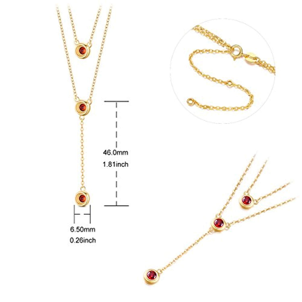 925 Sterling Silver Double Layered Necklace with Three Round AAA Zircon Pendant