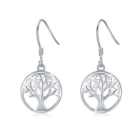 925 Sterling Silver Tree of Life Dangle Earrings Minimalist Jewelry Gifts for Women Mom Lover Family