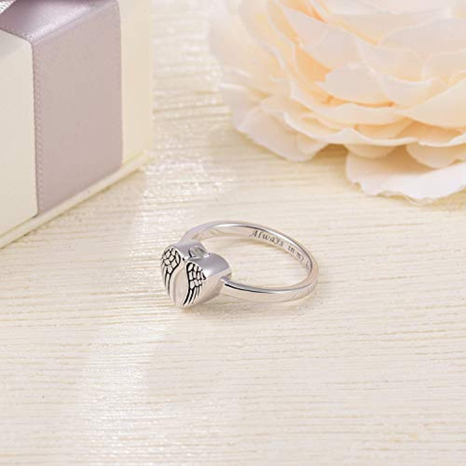 Sterling Silver Angel Wings Urn Ring for Women Always in My Heart Keepsake Memorial Jewelry Cremation Rings for Ashes