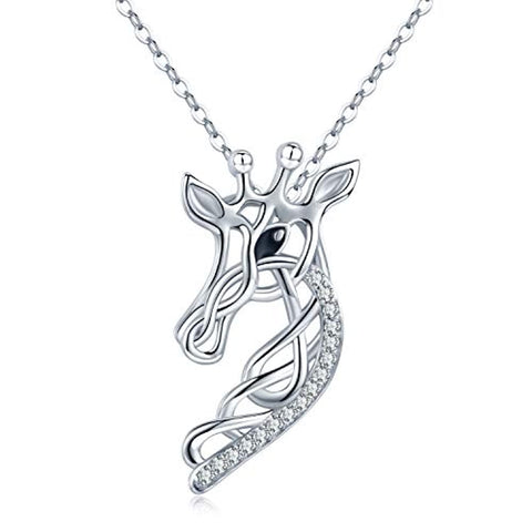 Silver Celtic Knot Necklace Giraffe Pendant