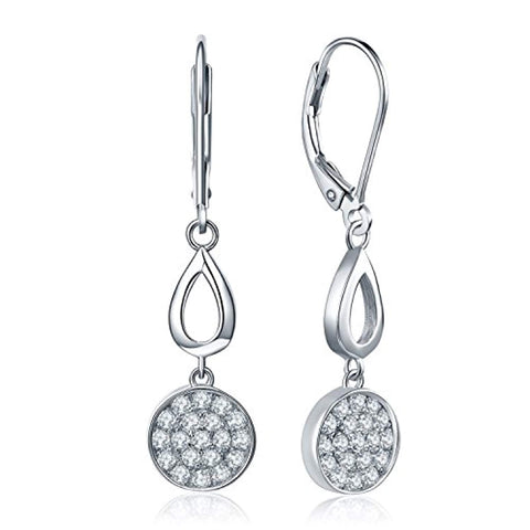 925 Sterling Silver Round Cubic Zirconia Drop&Dangle Leverback Earrings