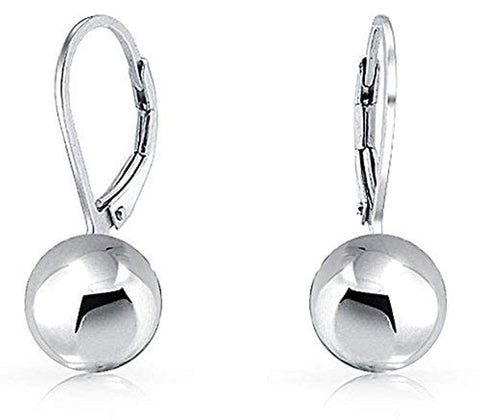 Simple Basic Dangling Leverback Round Bead Ball Drop Earrings For Women 925 Sterling Silver