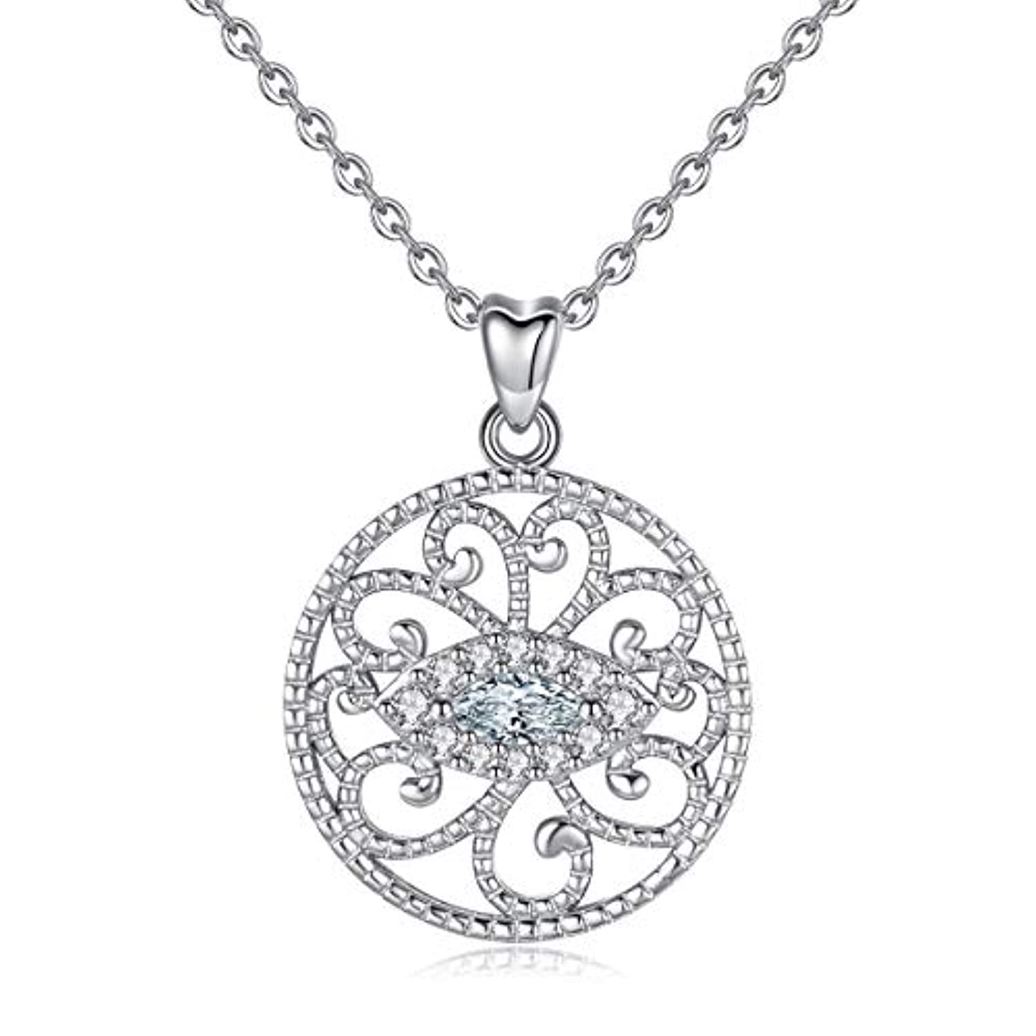 Silver CZ Evil Eye Pendant Necklace