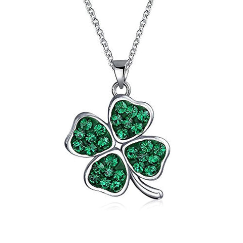Celtic Lucky Leaf Clover Green Crystal Shamrock Irish Dangle Pendant Charm Necklace For Women 925 Sterling Silver