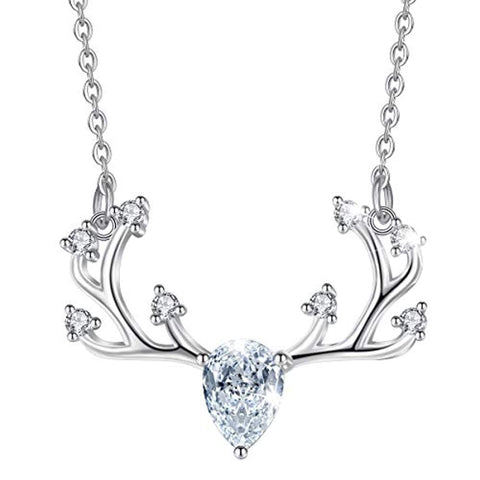 S925 Sterling Silver  Deer Antler Necklace Pendant with CZ Animal Jewelry for Women
