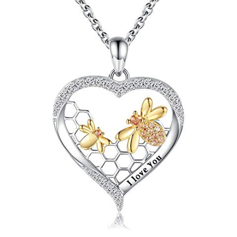 Silver Honey Bumble Bee Necklace