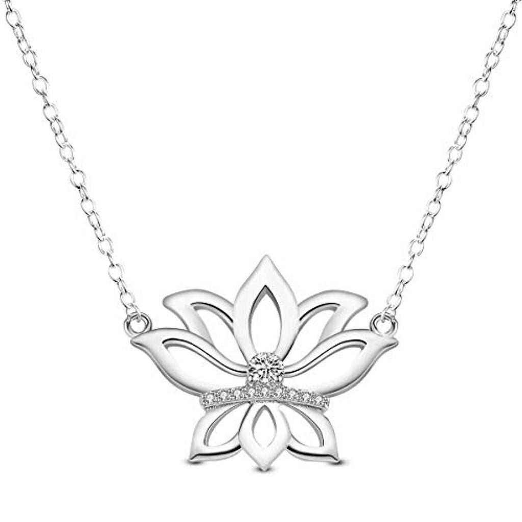 Lotus Flower Pendnat Necklace 925 Sterling Silver with AAA Cubic Zirconia Lotus Flower Charm Jewelry