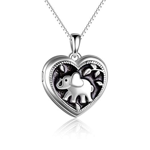 Silver Heart elephant Locket Necklace That Holds Pictures