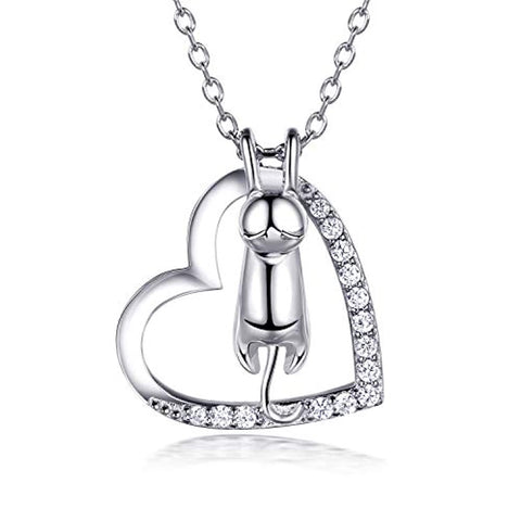 Silver Love Heart Cat Pendant CZ White Gold Plated Necklace