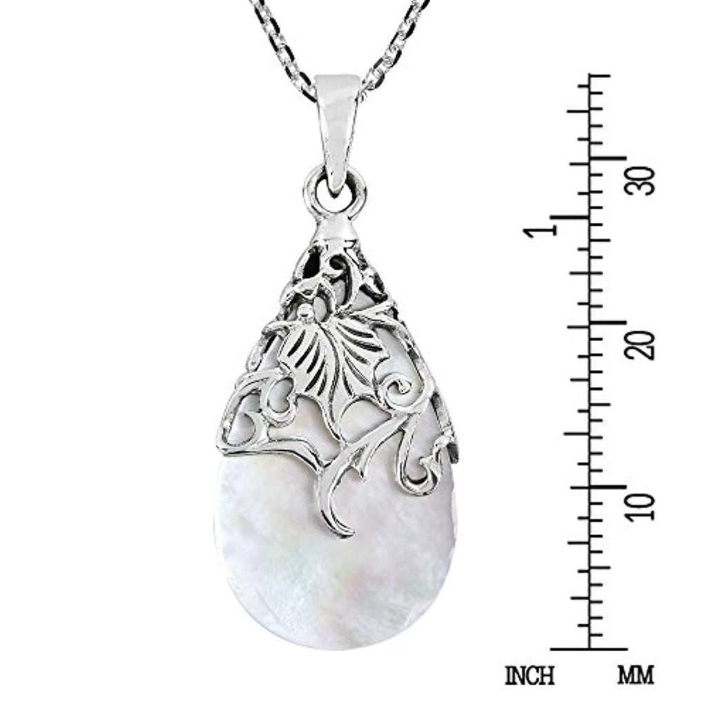 Vintage Floral Vine Adorned Teardrop Mother of Pearl .925 Sterling Silver Pendant Necklace
