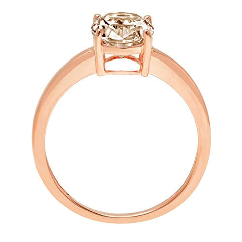 2.0 ct Brilliant  Diamond  4-Prong Engagement Wedding Bridal Promise Anniversary Ring 14k Rose Gold for Ladies