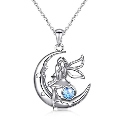 Angel Baby Fairy Moon Jewelry Pendant Necklace
