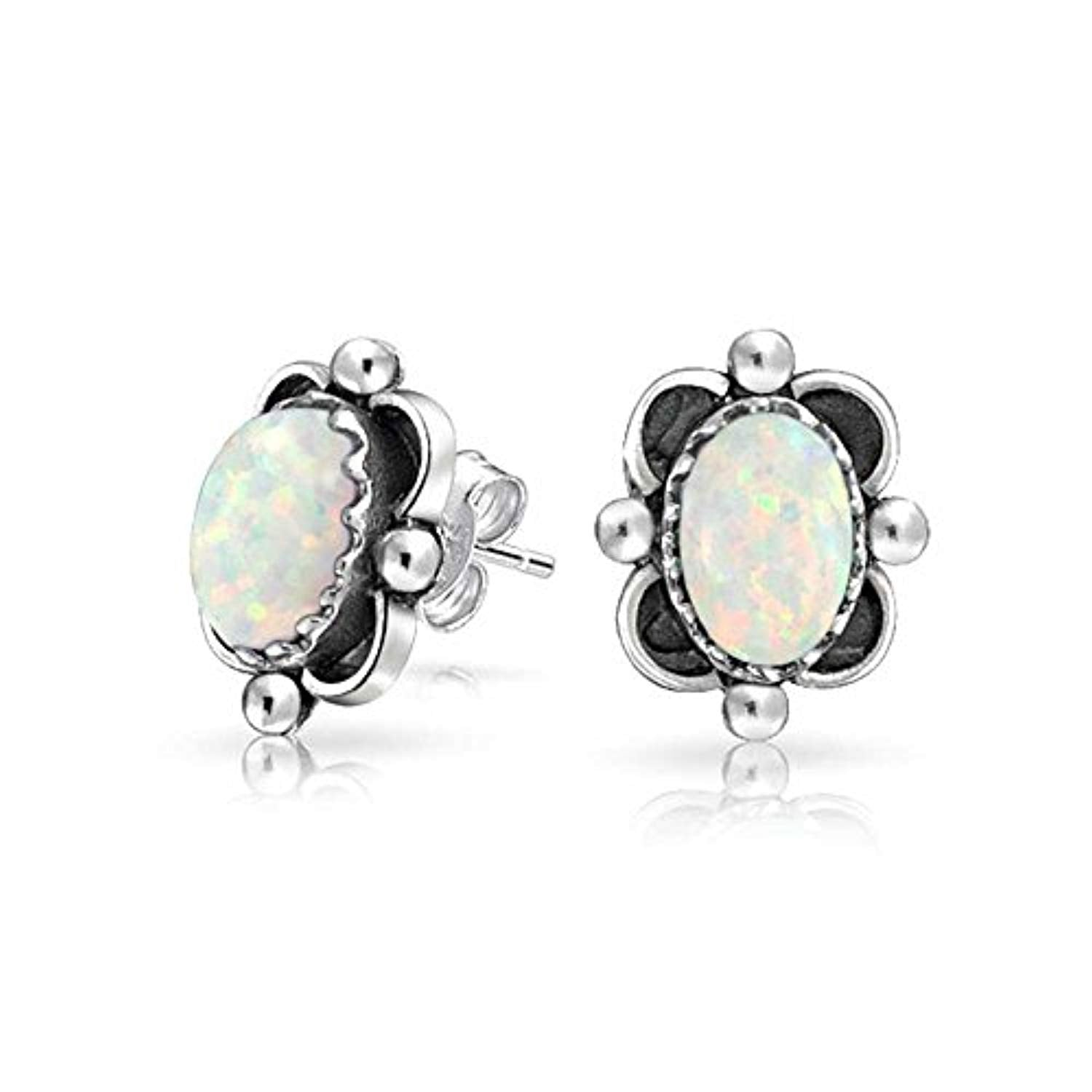 Boho Bali Style Oval Gemstone Stud Earrings Oxidized 925 Sterling Silver