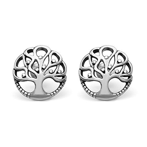 925 Sterling Silver 12 mm Ancient Tree of Life Symbol Cut Open Round Post Stud Earrings