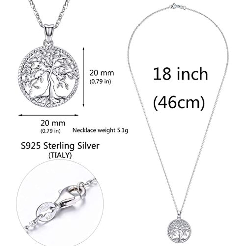 Tree of Life Necklace,Sterling Silver Pendant for Women Girls,Best Jewelry Gifts for Mom/Wife/Grandma/Girlfriend