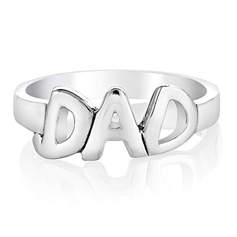 "925 Sterling Silver Open Love""DAD"" Word Inspirational Ring Size 6, 7, 8 - Nickel Free"