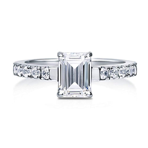 Rhodium Plated Sterling Silver Emerald Cut Cubic Zirconia CZ Solitaire Promise Engagement Ring