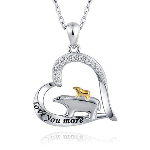 925 Sterling Silver Mama Bear Cubs Pendant Engraved Love You More Mother Child Necklace Gifts for Mom Grandma