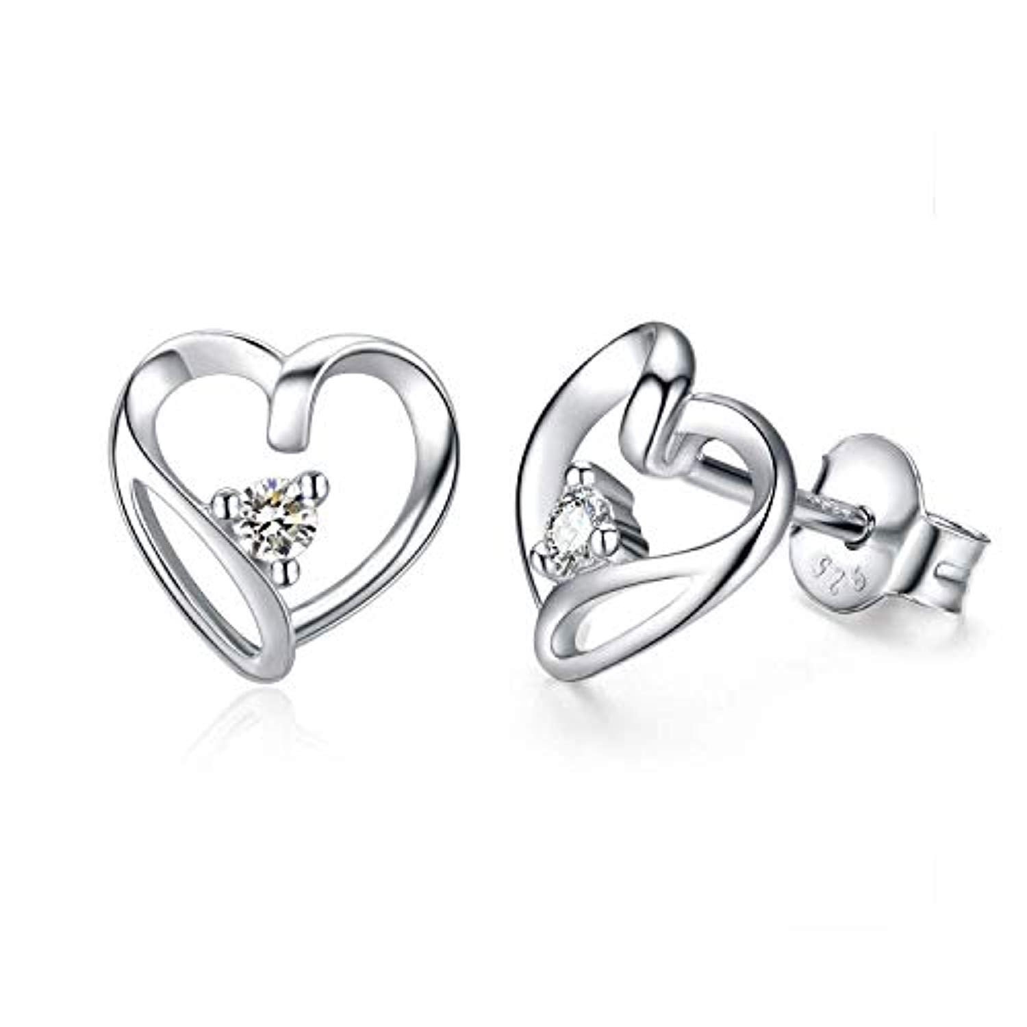 925 Sterling Silver Heart Stud Earrings Hypoallergenic Stud Earrings for Women