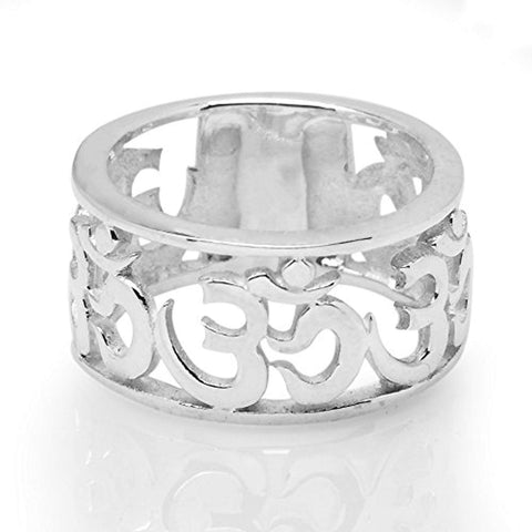 925 Sterling Silver Cut Open Aum Om Ohm Sanskrit Symbol Polished Finish Unisex Band Ring