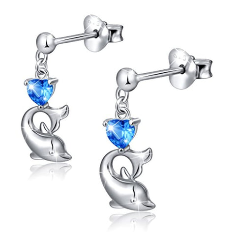 Blue Cz Heart Dolphin Stud Earrings