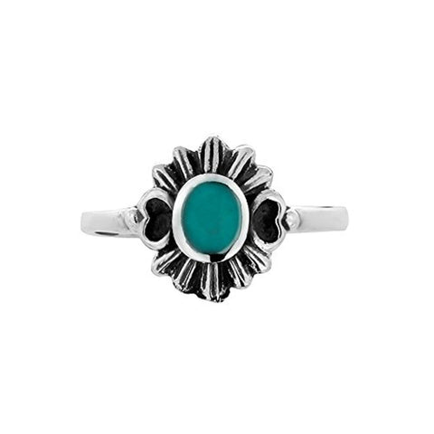 925 Oxidized Sterling Silver Blue Turquoise Stone Modern Flower Nature Inspired Ring