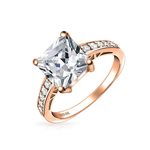 3CT Square Princess Cut Solitaire AAA CZ Engagement Ring Thin Pave Band Rose Gold Plated 925 Sterling Silver For Women