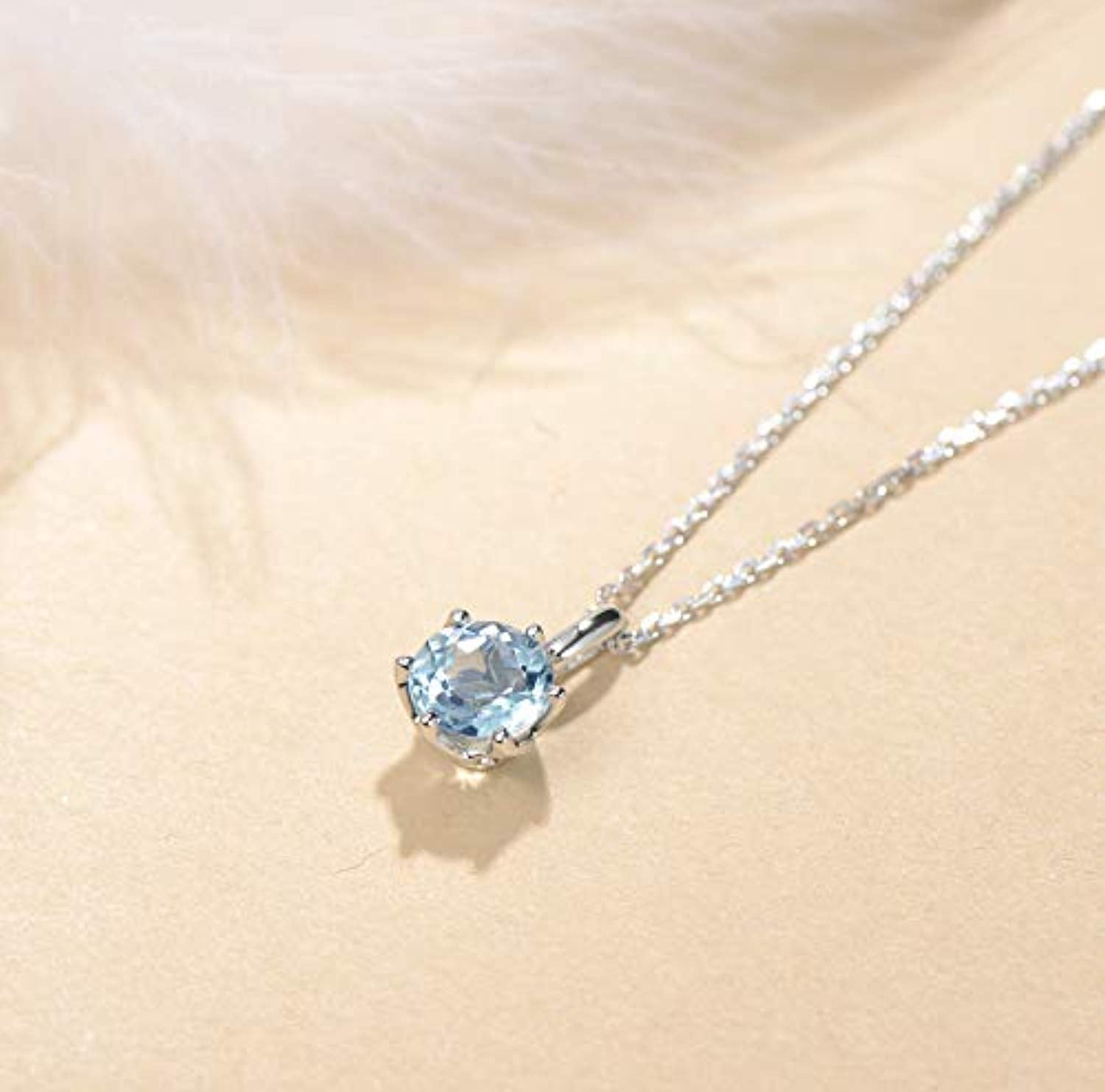 14K Solid White Gold  Genuine Natural Aquamarine Solitaire Pendant Necklace March Birthstone Gemstone Fine Jewelry Gifts