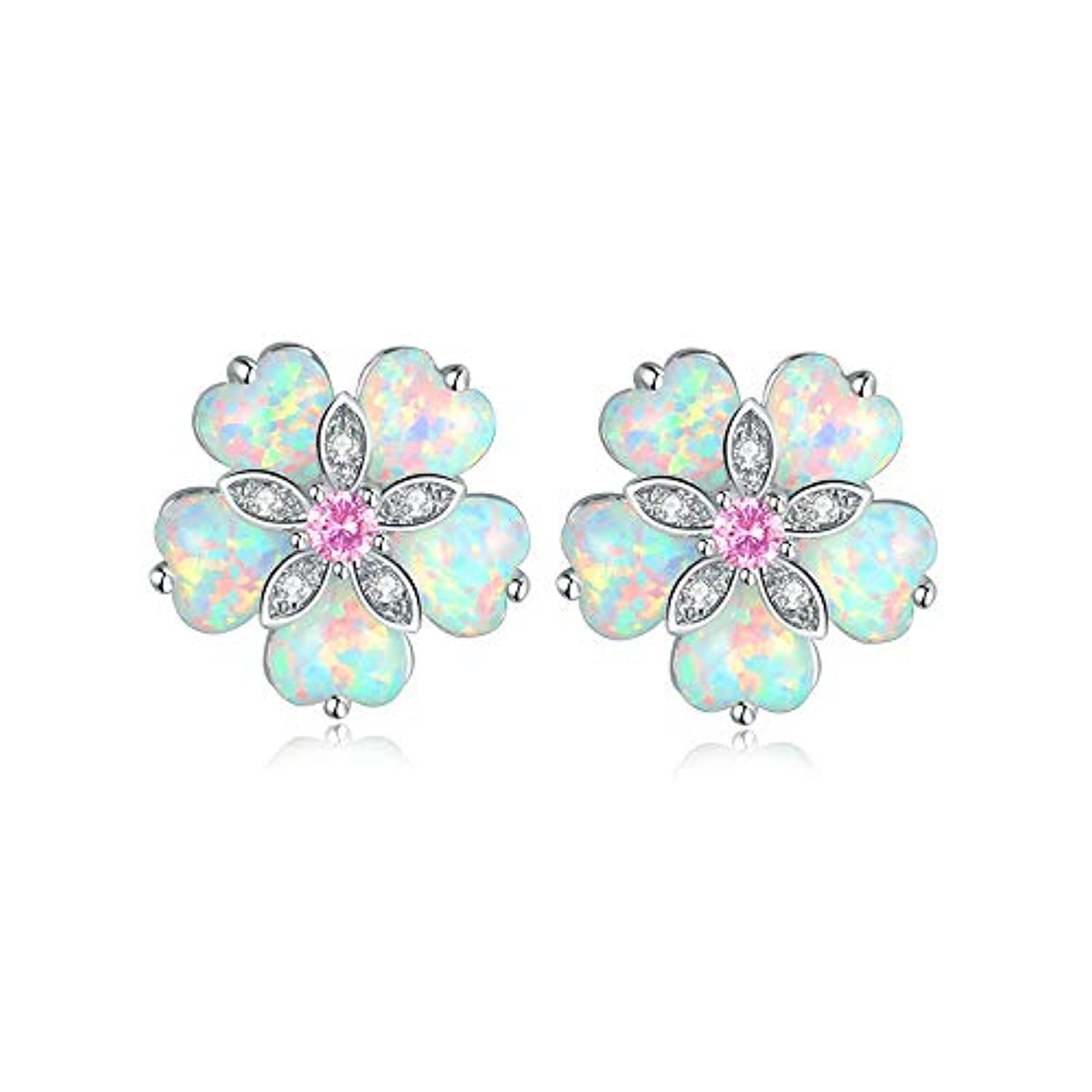 Flower Opal Earrings Stud