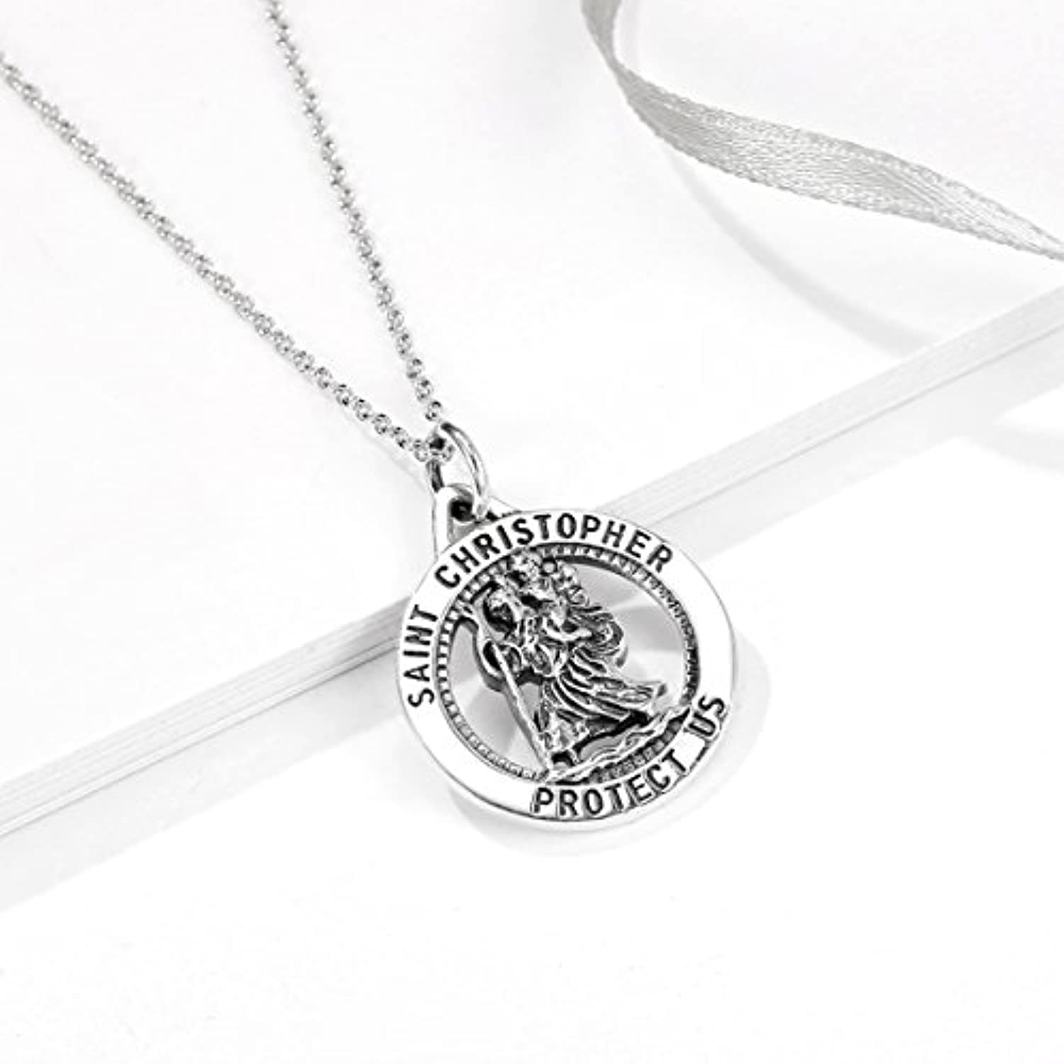Saint Christopher Protect Us Necklace 925 Sterling Silver Religious Engraved Medallion Pendant Necklace Jewelry
