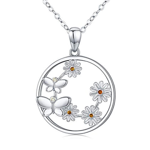 Silver Butterfly Necklace Daisy Sunflower Pendant Necklace
