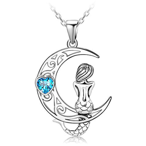 Classic Sea Mermaid Crescent Moon Necklace