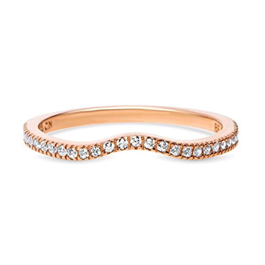 Rose Gold Plated Sterling Silver Cubic Zirconia CZ V Shaped Wedding Curved Half Eternity Band Ring