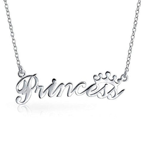 Crown Word Princess Name Plate Pendant Necklace For Women For Teen 925 Sterling Silver