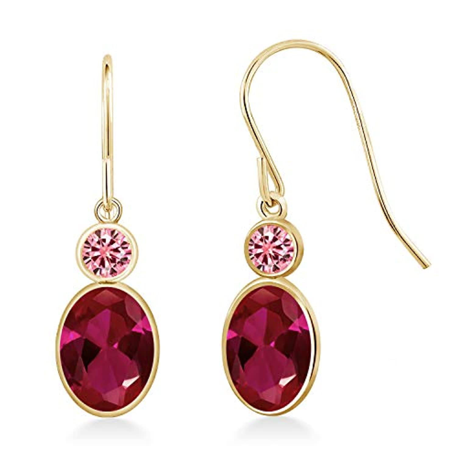 14K Gold  Created Ruby and Created Moissanite   Drop Earrings