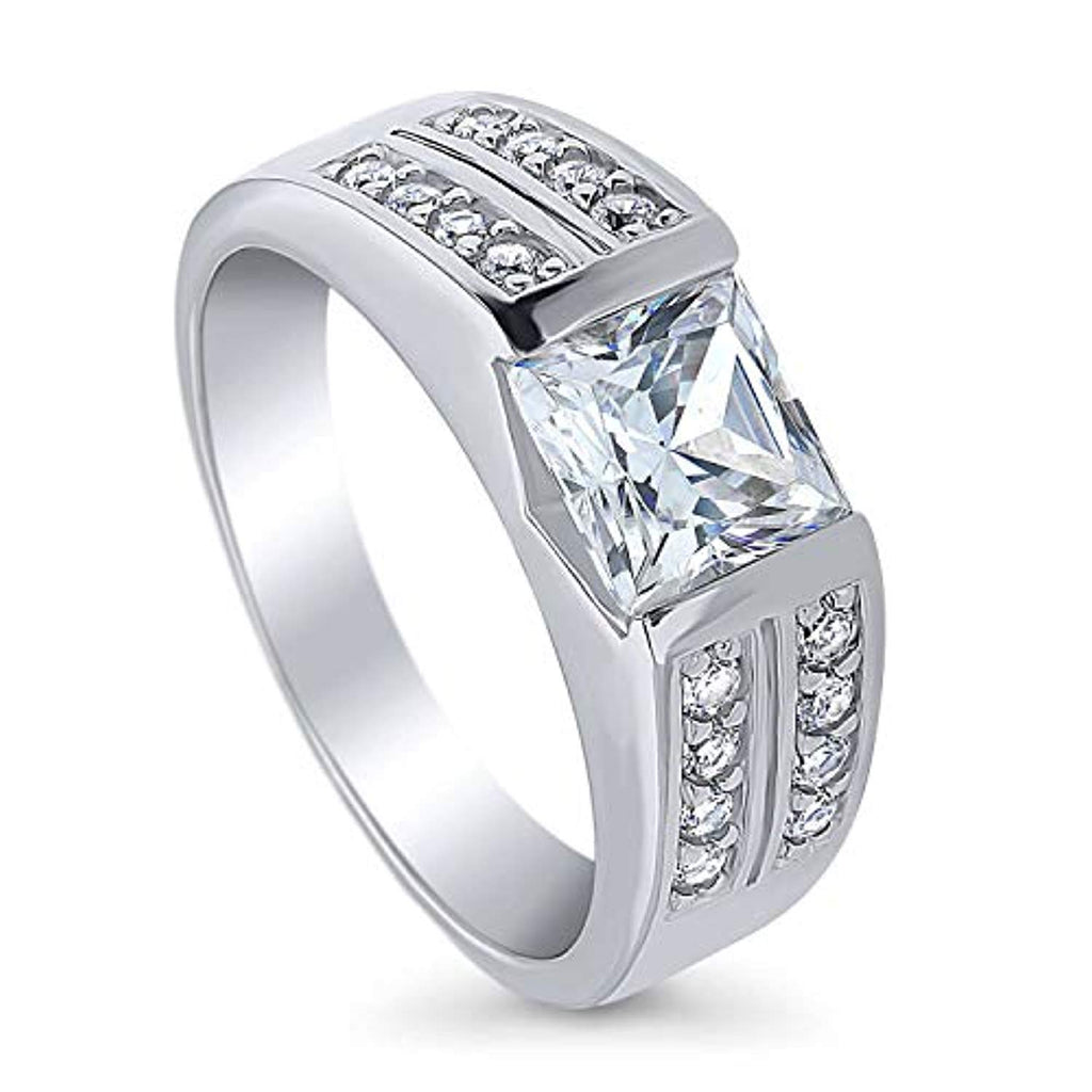 Rhodium Plated Sterling Silver Princess Cut Cubic Zirconia CZ Statement Solitaire Engagement Ring