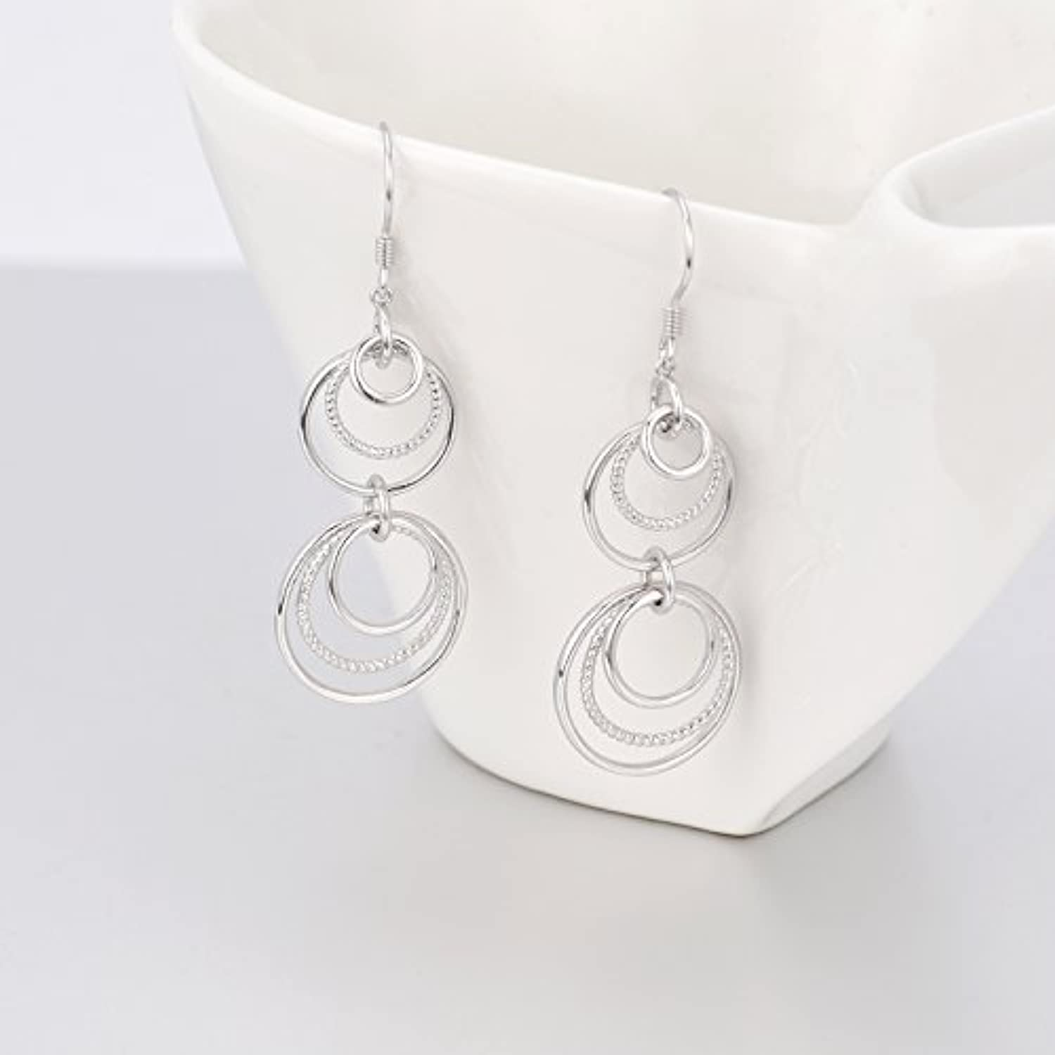 Sterling Silver Infinity Circle Dangle Earrings Interlocking Hoops Drops Jewelry for Women Girls Mother's Day Birthday Gifts