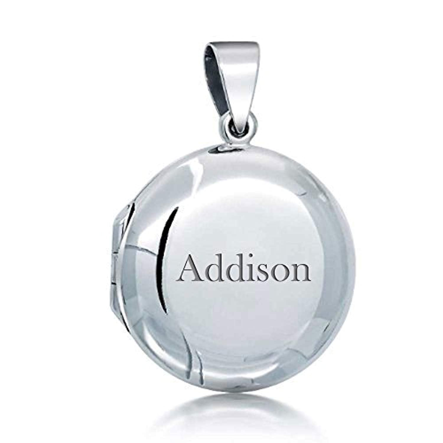 Engravable Basic Polished Round Locket Pendant For Women For Wife 925 Sterling Silver