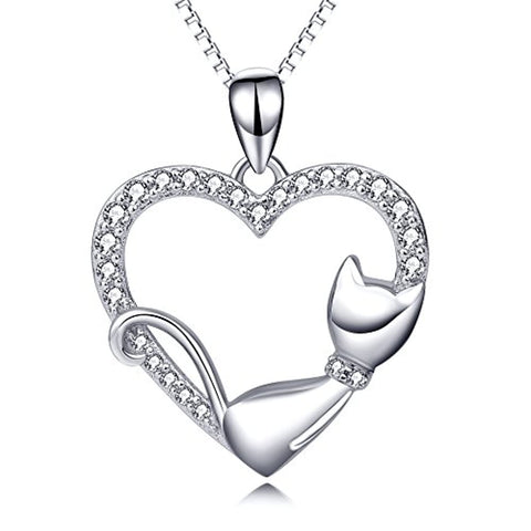 Silver Cat Animal Necklace