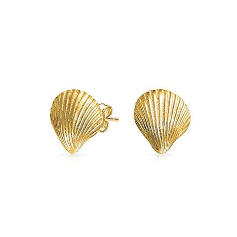 Nautical Tropical Beach Cockle Seashell Stud Earrings For Women Sea Life14K Gold Plated Silver 925 Sterling Silver