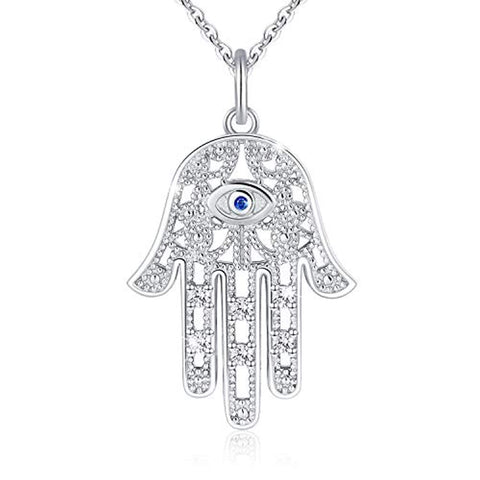 925 Sterling Silver Hamsa Hand of Fatima Evil Eye Necklace for Women Comes with Jewelry Gift Box