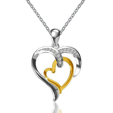 925 Sterling Silver 14K Gold Plated Heart Pendant Two Hearts Necklace for Women Girls Ladies
