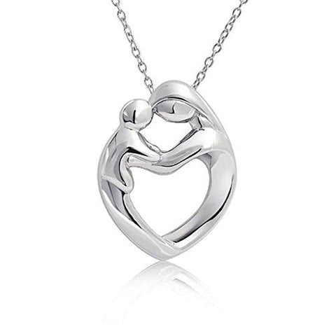 Mother Loving Son Or Daughter Heart Shape Pendant Necklace For Women Polished 925 Sterling Silver