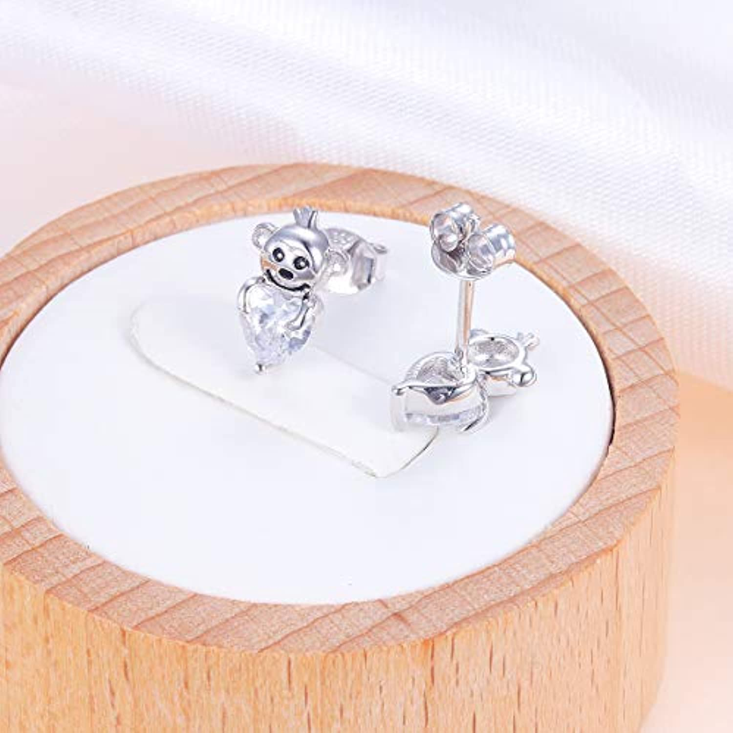 925 Sterling Silver I Love You More Engraved Cute Animal Monkey in Heart Stud Earrings for Women Girls Birthday Gift