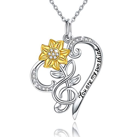 Wholesale  Sunflower Heart Pendant Neckalce