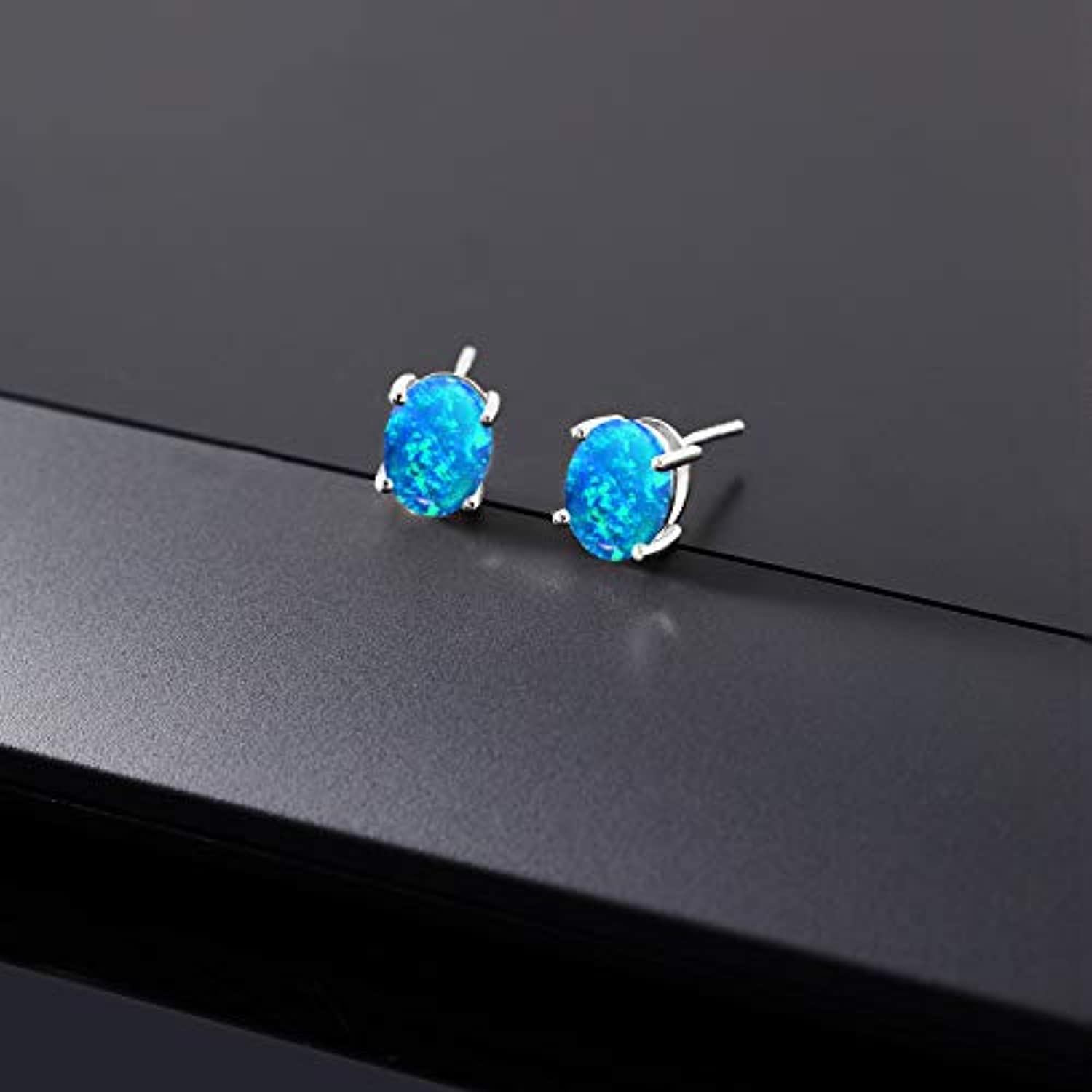 14K  Gold Oval Blue Opal Stud Earrings For Women